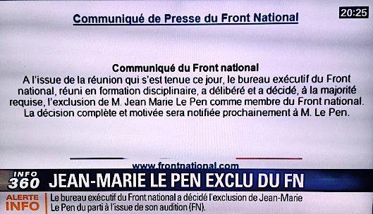 Communiqué exclusion Jean Marie le Pen du FN