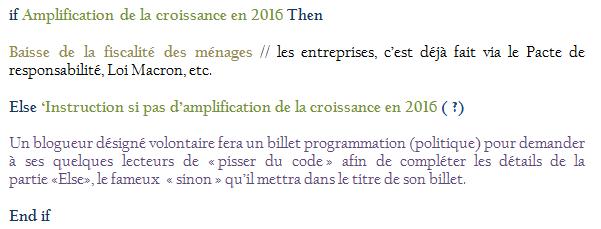 Croissance 2016 et fiscalité F Hollande