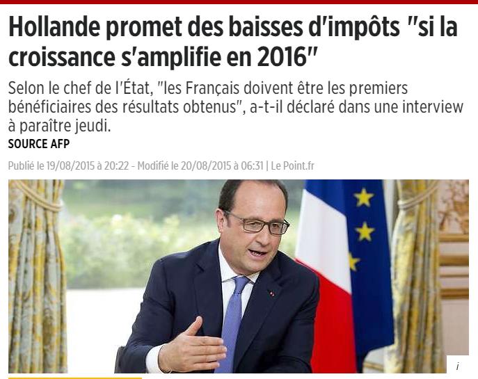 Hollande promet des baisses d'impôts si la croissance s'amplifie en 2016