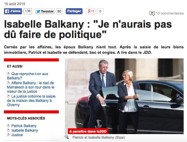 Isabelle Balkany Je n'aurais pas dû faire de politique