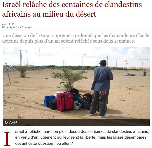 Israël relâche des centaines de clandestins africains au milieu du désert