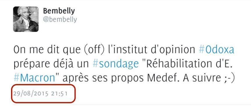 Tweet Macron Sondage Odoxa Valls Hollande
