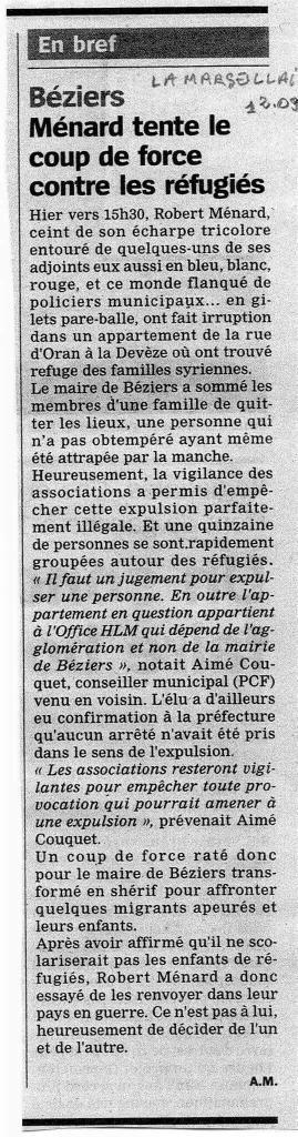 Robert Menard Vichy Beziers expulsion Refugiés syriens