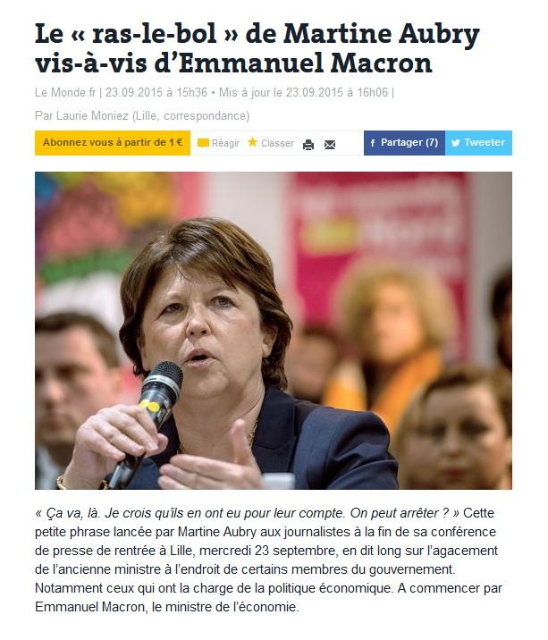 Le « ras-le-bol » de Martine Aubry vis-à-vis d'Emmanuel Macron
