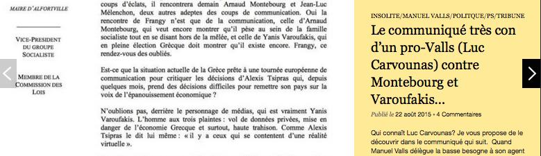 LIre Le communiqué très con d'un pro-Valls (Luc Carvounas) contre Montebourg et Varoufakis…