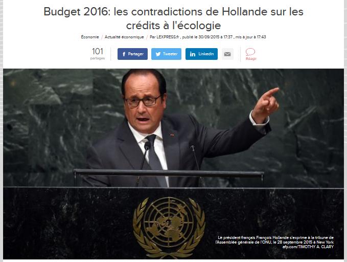 Budget 2016 les contradictions de Hollande sur les crédits à l'écologie