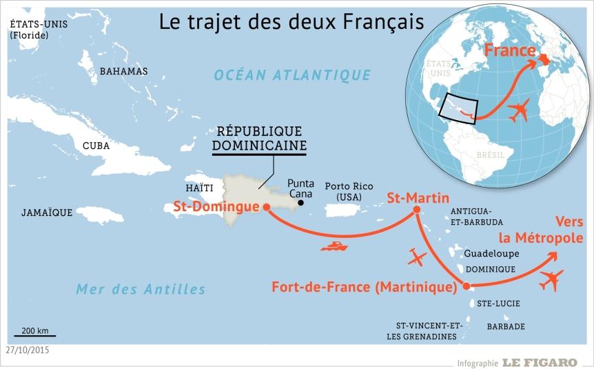Air Cocaïne trajet d'exfiltration des français