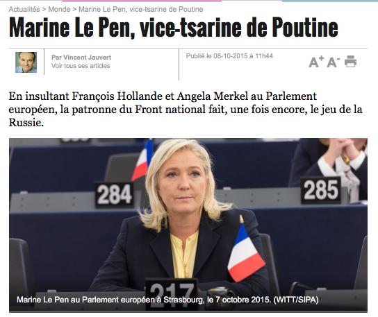 Marine Le Pen, vice-tsarine de Poutine