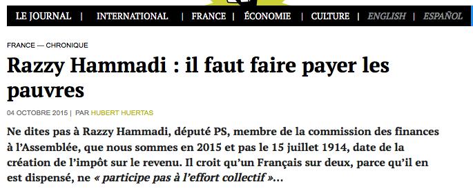 Razzy Hammadi : il faut faire payer les pauvres