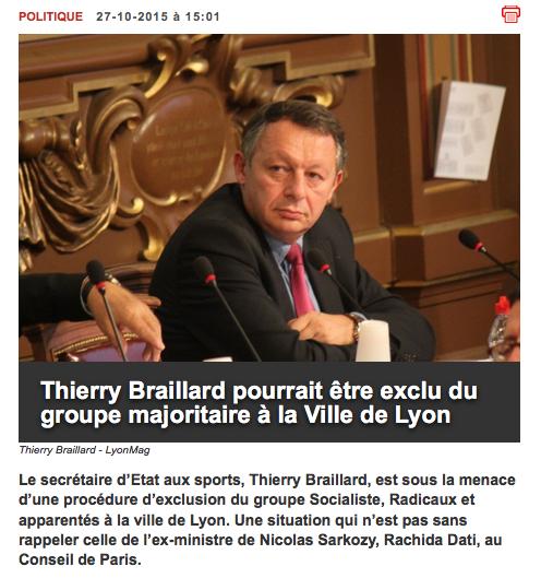 Thierry Braillard pourrait etre exclu du groupe majoritaire à la Ville de Lyon