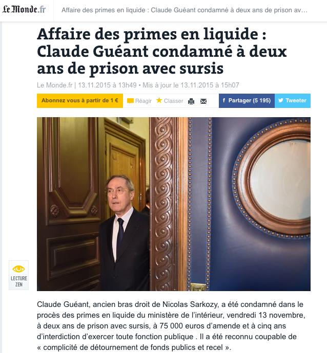 Affaire des primes en liquide : Claude Guéant condamné à deux ans de prison avec sursis