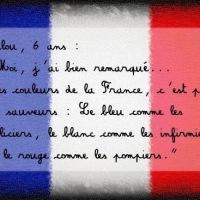 """Les enfants et les """"couleurs de la France"""", bleu-blanc-rouge..."""