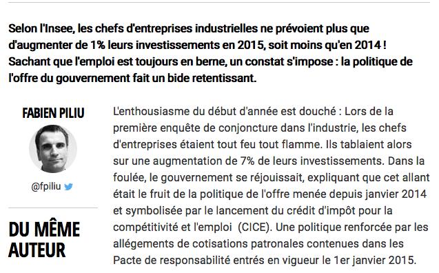 La politique de l'offre de Manuel Valls est un flop !