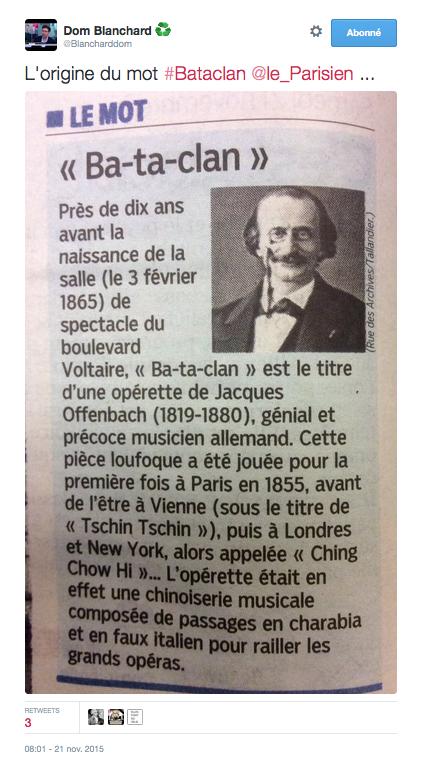 L'origine du mot #Bataclan extrait du Parisien