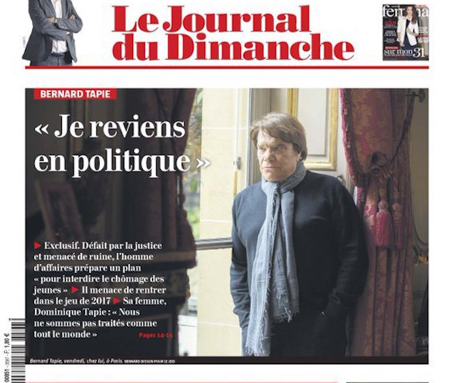 Berbard Tapie revien en politique