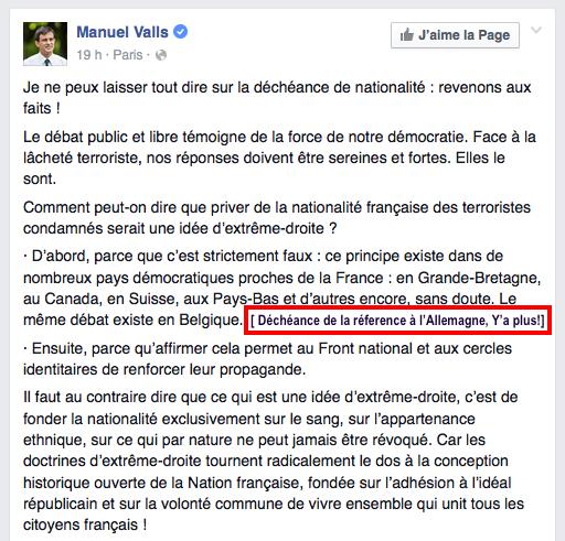 Décheance nationalité Allemagne Valls