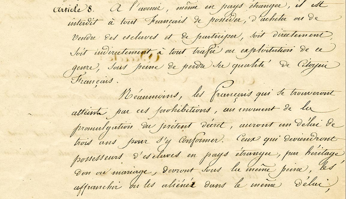 Décret d'abolition de l'esclavage du 27 avril 1848 Article 8