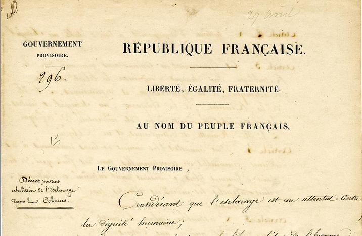 Décret d'abolition de l'esclavage du 27 avril 1848