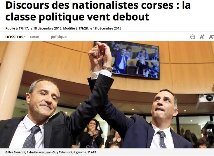 Discours des nationalistes corses : la classe politique vent debout