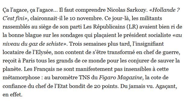 Exaspéré par le retour en grâce de Hollande, le chef de LR trouve que l'on parle beaucoup trop de la conférence sur le climat.