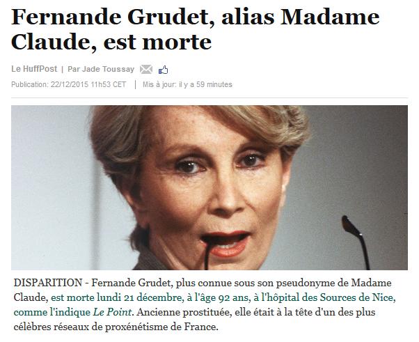 Fernande Grudet, alias Madame Claude, est morte