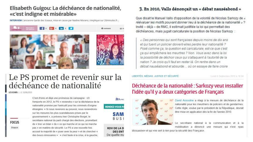 Gauche 2010 déchéance de la nationalité PS Valls Hollande Taubira révision constitutionnelle