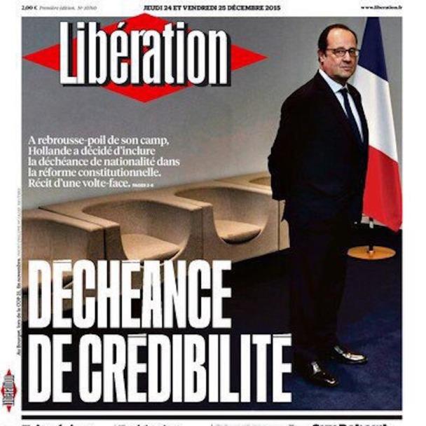 F Hollande UNE Libé Décheance Nationalité