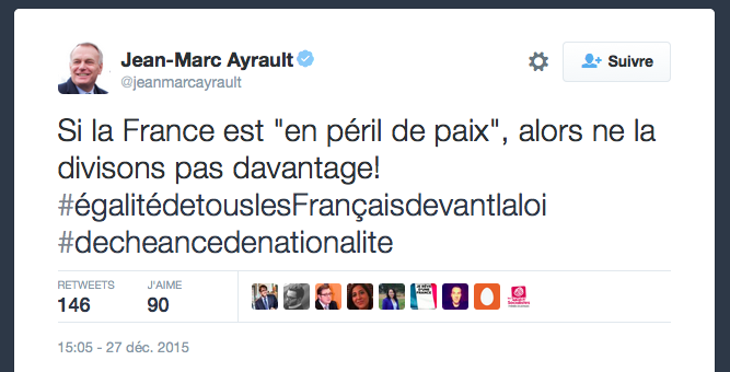 Jean Marc Ayrault tacle Manuel Valls, en face...