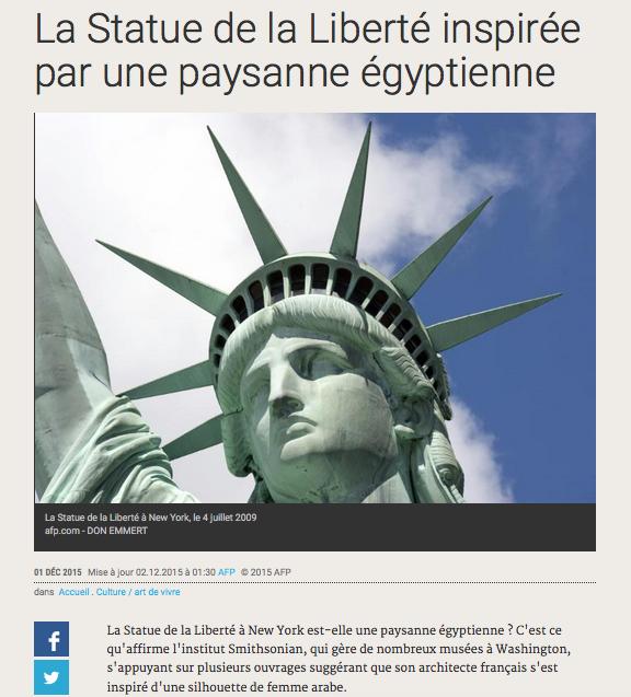 La Statue de la Liberté inspirée par une paysanne égyptienne