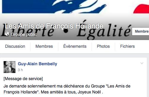 Quitter le Groupe Les Amis de François Hollande, fait.