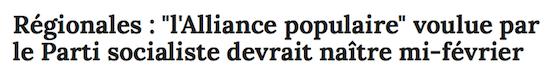 """Régionales : """"l'Alliance populaire"""" voulue par le Parti socialiste devrait naître mi-février"""