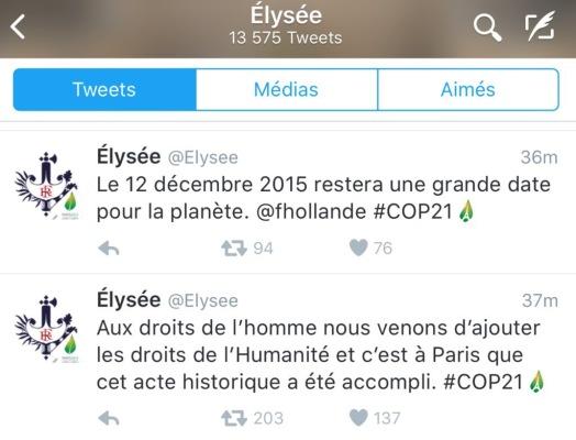 Tweet F Hollande Droits de l'humanité cop21