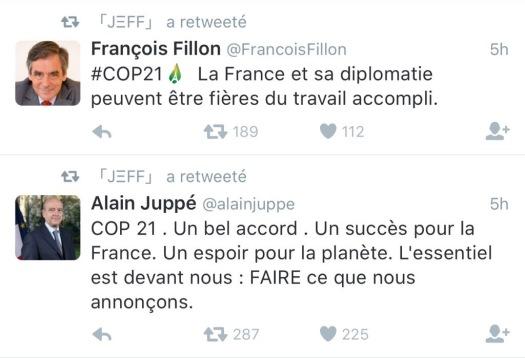 Tweet Juppé Fillon COP21