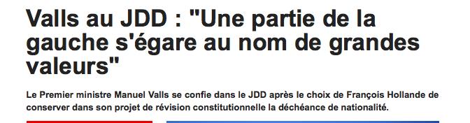 Valeurs égarées de Manuel Valls