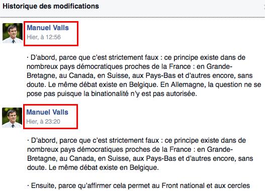 Valls modifie sa chronique