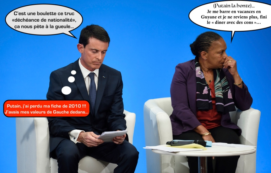 French Prime Minister Manuel Valls reads notes as French Justice minister Christiane Taubira sits nearby during a press conference to present reform proposals, agreed by the government today, at the Elysee Palace in Paris