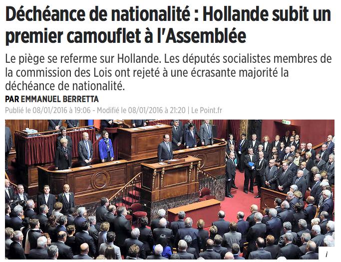 Déchéance de nationalité : Hollande subit un premier camouflet à l'Assemblée