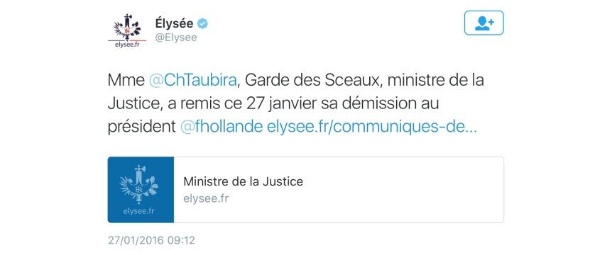 Elysée Christiane Taubira démissionne
