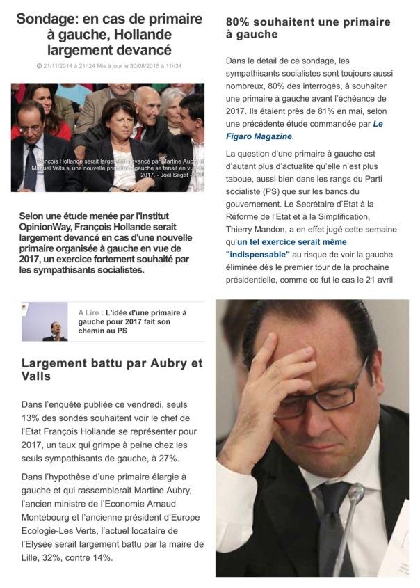 Sondage Primaire à Gauche Hollande en lambeau