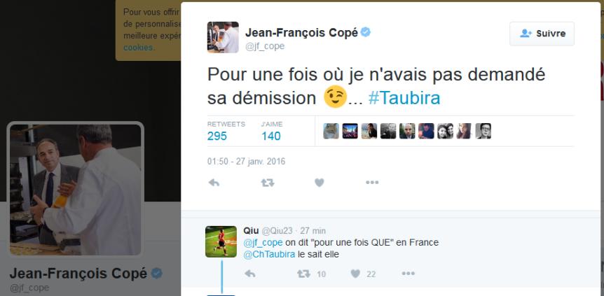 Taubira Démission JF Copé tweet
