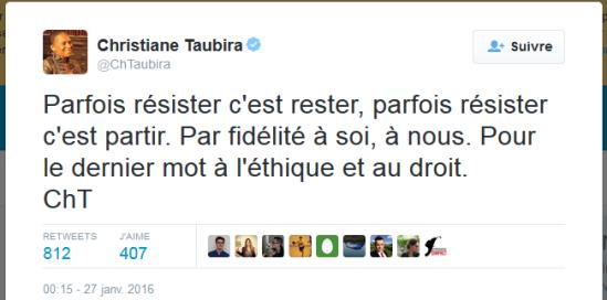 Taubira démissionne