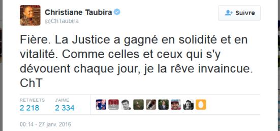 Tweet Taubira Démission