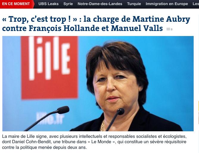 « Trop, c'est trop ! » : la charge de Martine Aubry contre François Hollande et Manuel Valls