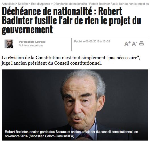 Déchéance de nationalité : Robert Badinter fusille l'air de rien le projet du gouvernement