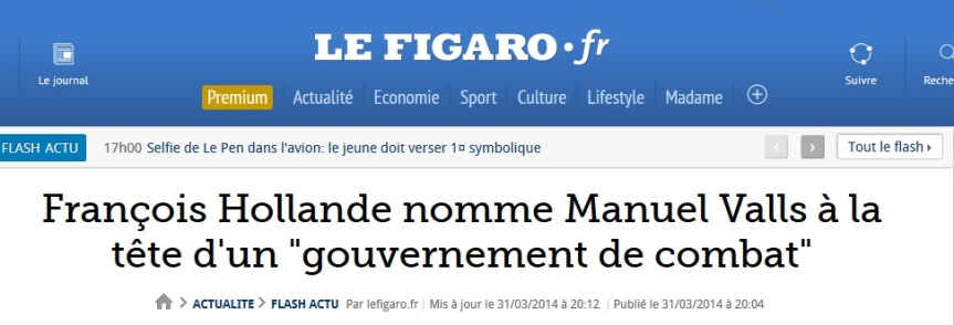 Flash le Figaro Gouvernement de combat