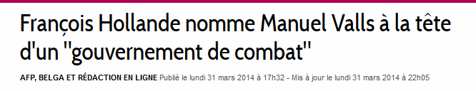 Libre be Gvt de combat Valls remaniement