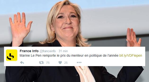 Marine Le Pen Prix de la menteuse politique 2015