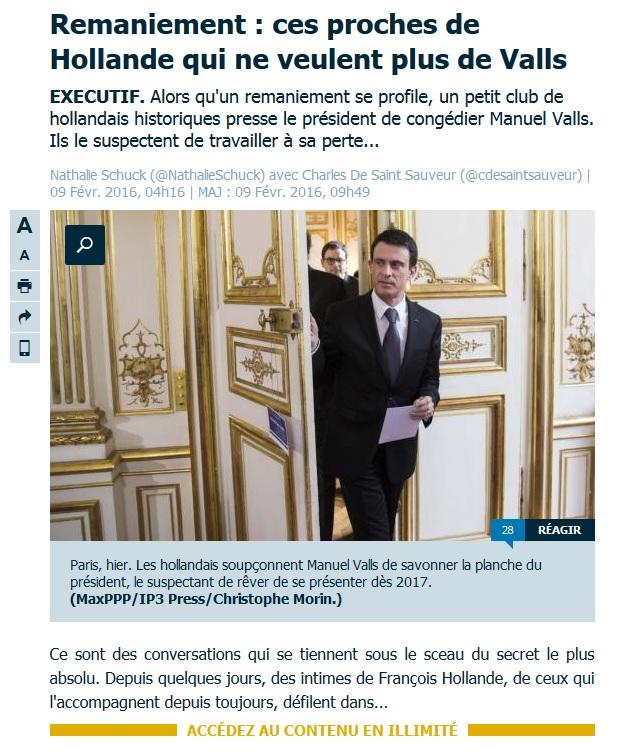 Ramaniement Valls Ouf Matignon