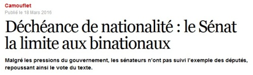 Déchéance de nationalité le Sénat la limite aux binationaux