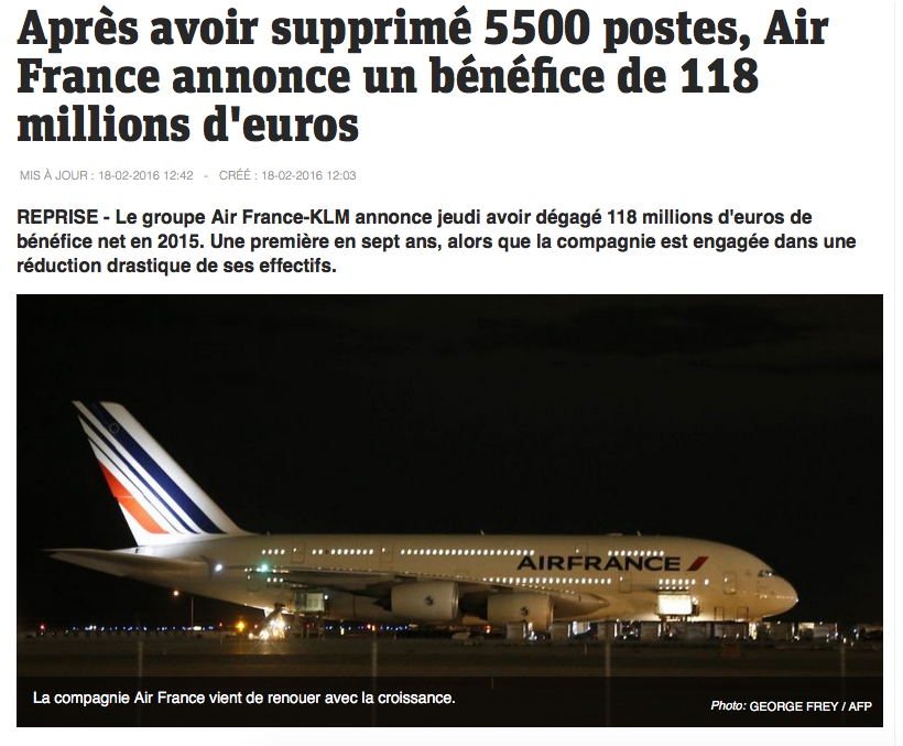 Loi travail test Air France suppression emplois